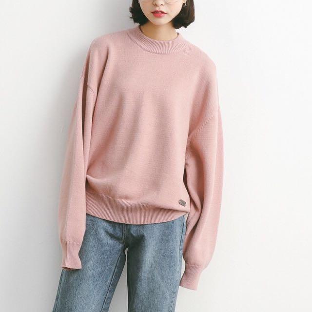 韓國 灰粉色 寬鬆圓領毛衣 針織衫 厚針織長袖上衣的 大學t