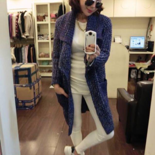 轉 molly 藍紫混色針織長版外套