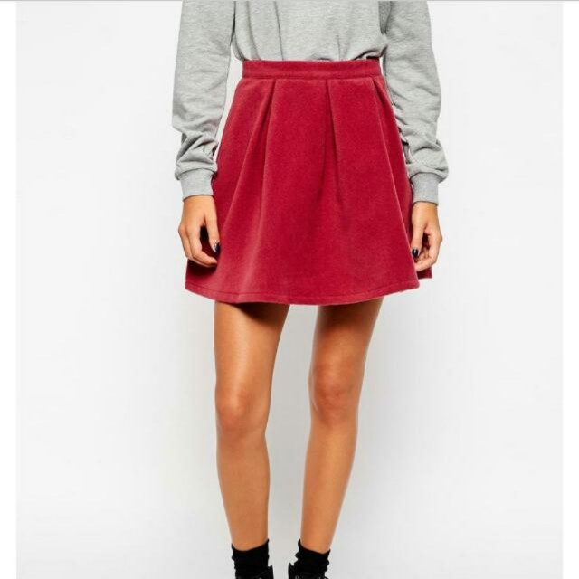 4a643909c ASOS - Pleat School Skirt In Burgundy, Women's Fashion, Clothes ...