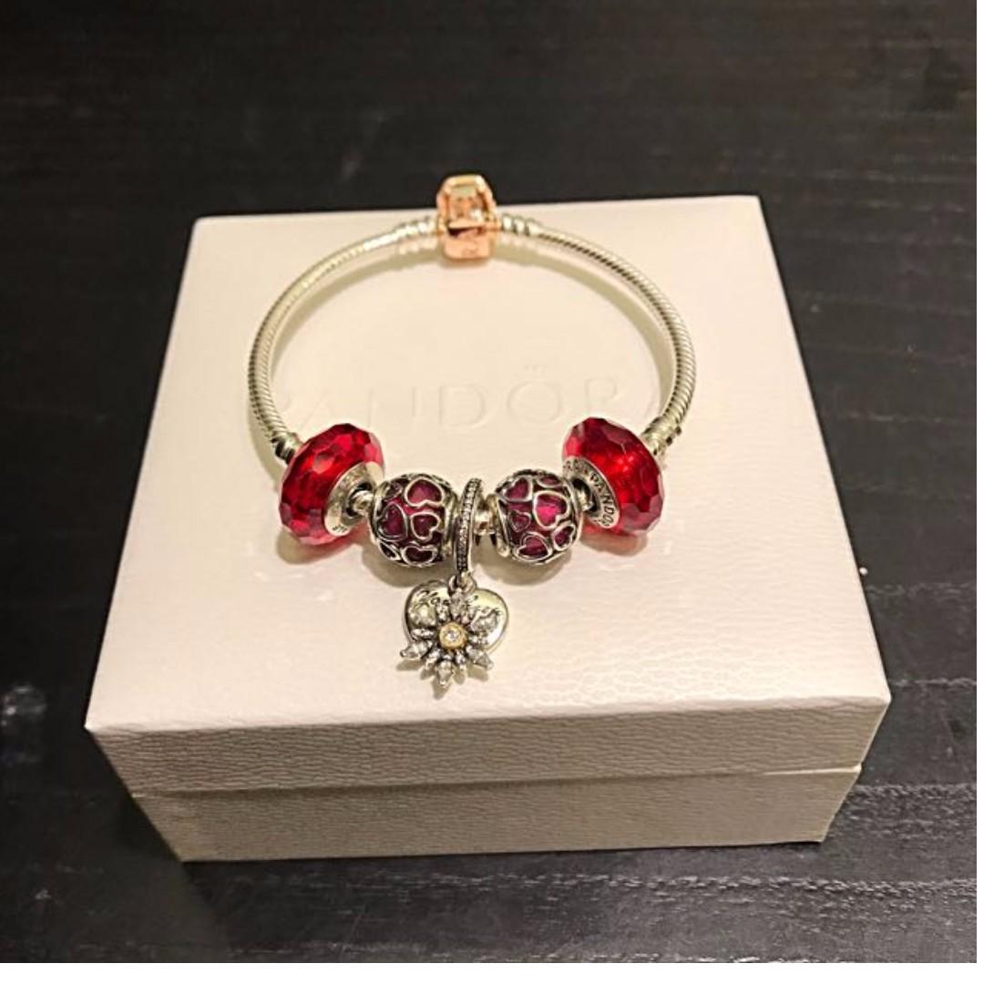 866cc6d52 Authentic Pandora Rose Gold Bracelet & Charm Set (red Theme ...