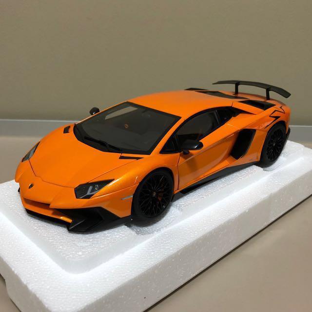 autoart 1 18 lamborghini aventador lp750 4 sv orange toys games bricks figurines on. Black Bedroom Furniture Sets. Home Design Ideas