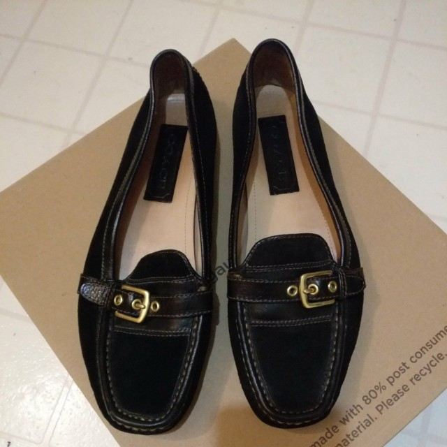 Black Leather & Suede Coach Flats