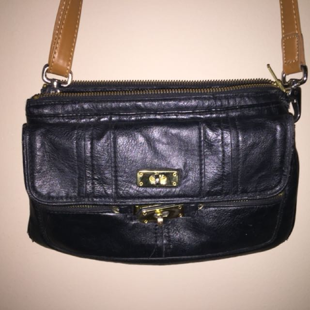 Black purse leather