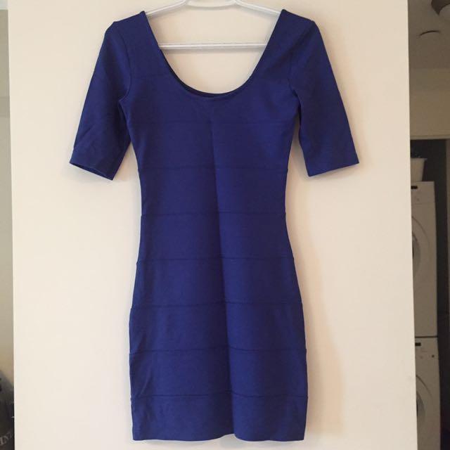 Blue bodycon dress - size S