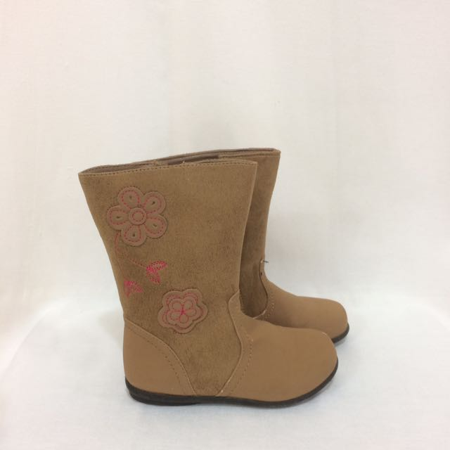 Brown Boots w/ Flower details