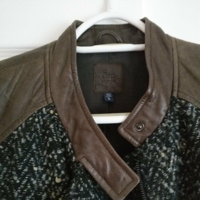 Brown Leather & Tweed Jacket