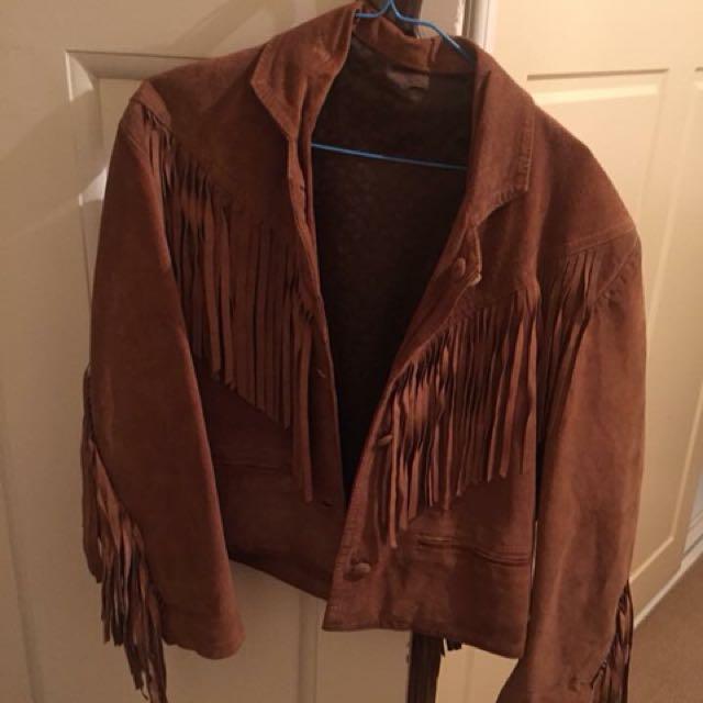 Brown vintage fringe jacket