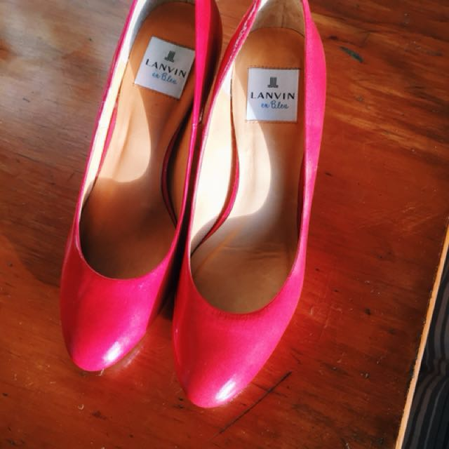 "Cherry red Lanvin ""en Bleu"" vintage heels"
