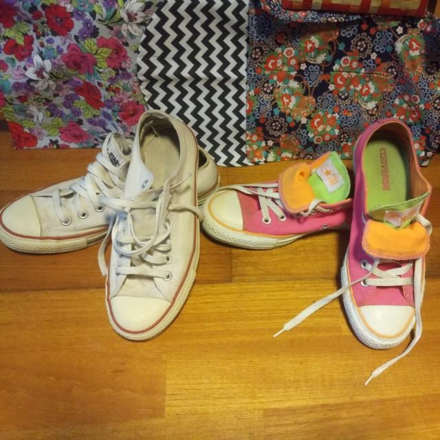 CONVERSE 白25號  粉25.5號女鞋😎