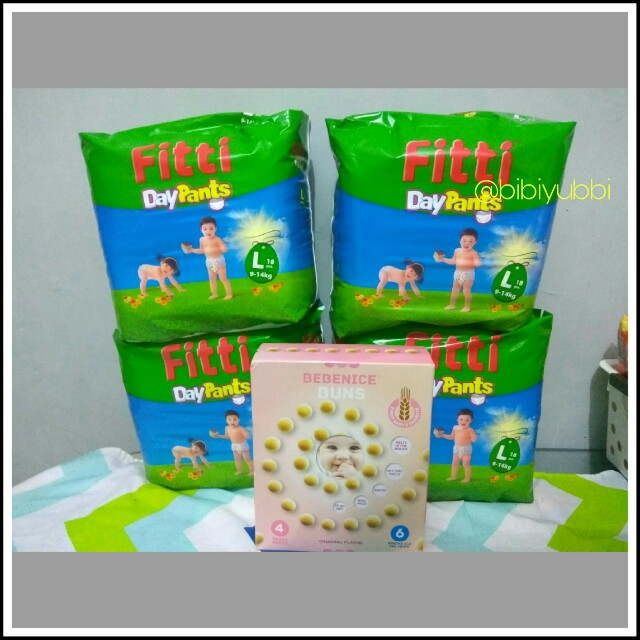 Diapers Pampera FITTI L18 isi 4 pcs + Bonus Bebenice Buns Snack for Babies