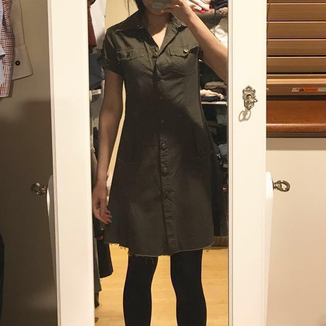 Distressed army green dress