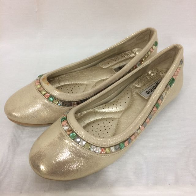 Figliarina Light Gold Flats w/ Gemstones