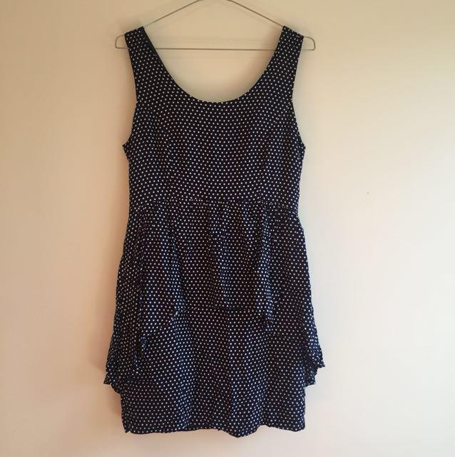 Forever 21 Navy/White Polka Dot Dress Size M