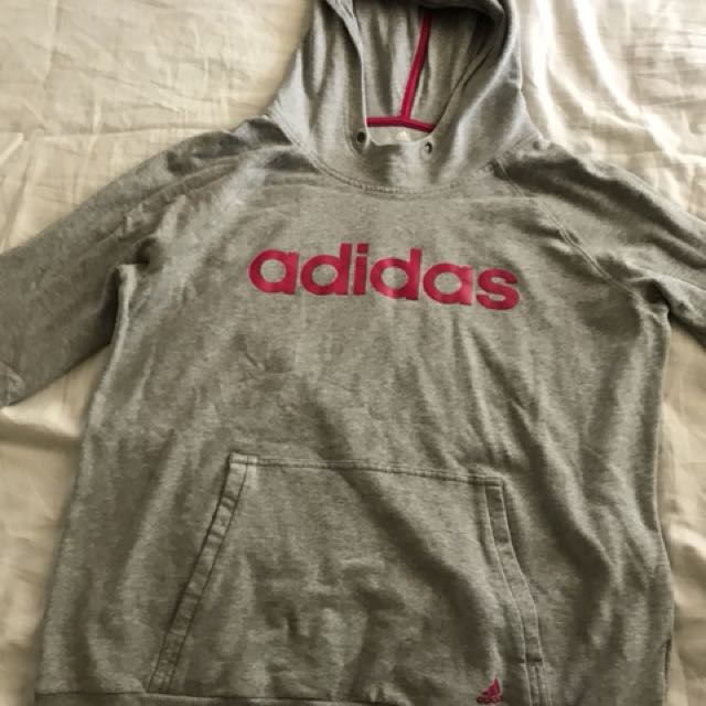 Grey and pink adidas jumper