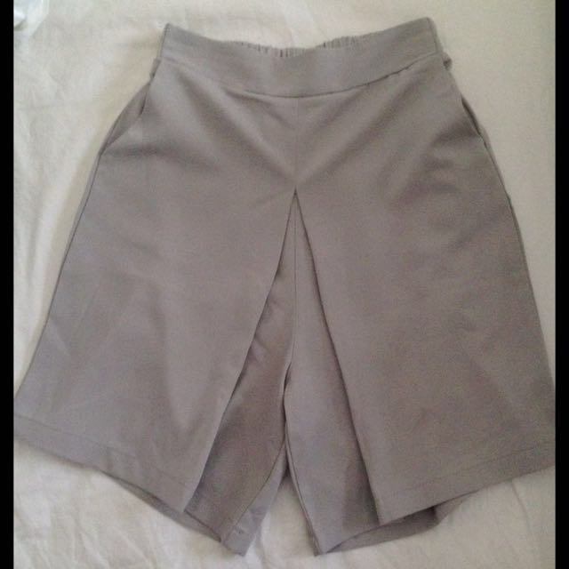 Grey High waisted Fabric Shorts
