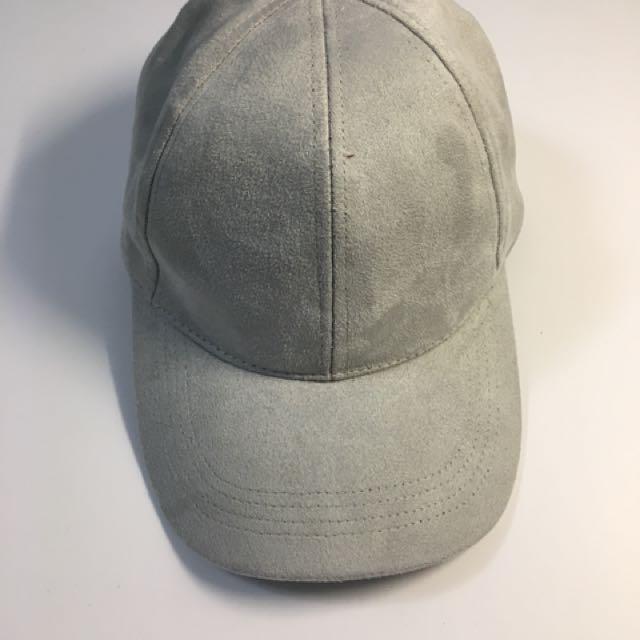 Grey Suede Baseball Cap (OS)