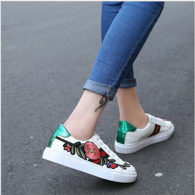 Gucci inspired embroidered floral shoes