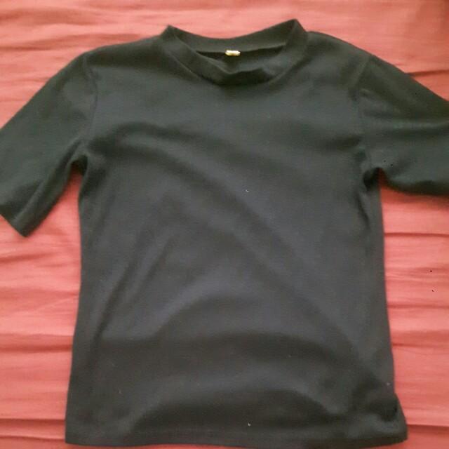 High Neck Black Top T-Shirt