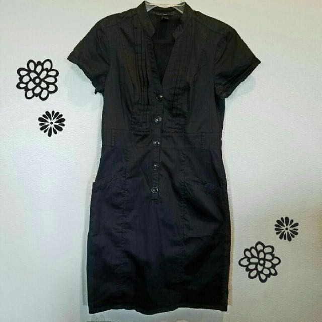 h&m black button dress with pockets