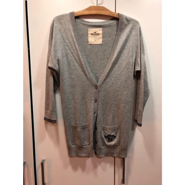 Hollister 灰色七分袖針織外套