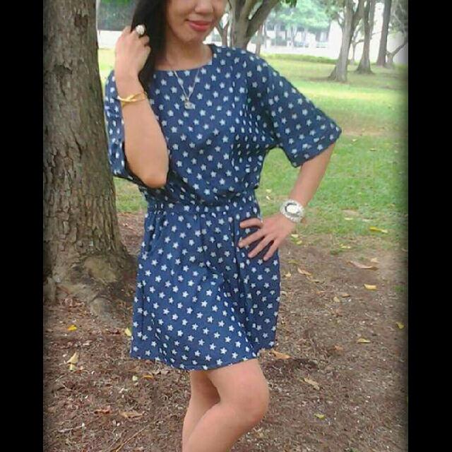 Korean Blue Dress With Star Print..