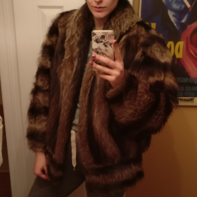 Luxury 100% Real Racoon Fur Coat