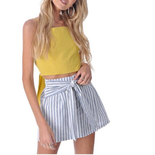 #CNY88 Ribbon Tie Stripe Skirt