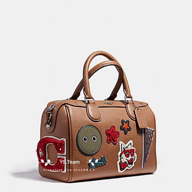 38b6797a8a9c MINI BENNETT SATCHEL IN CROSSGRAIN LEATHER WITH VARSITY PATCHES AND ...