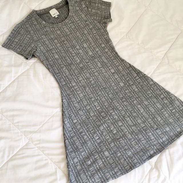 Mink Pink Grey Ribbed Mini Dress