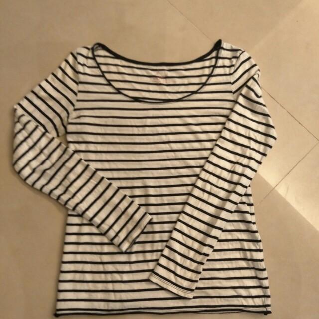 net純棉上衣  t恤 S號穿過一次而已  黑白條紋
