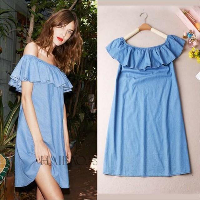 💕New Arrival U.S. Style Soft Denim Off Shoulder Dress