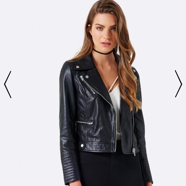 [NEW] Forever New Genuine leather biker jacket, Size 4 6