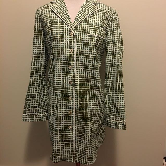 New NWT medium Tory Burch mirielle panama sleep shirt green