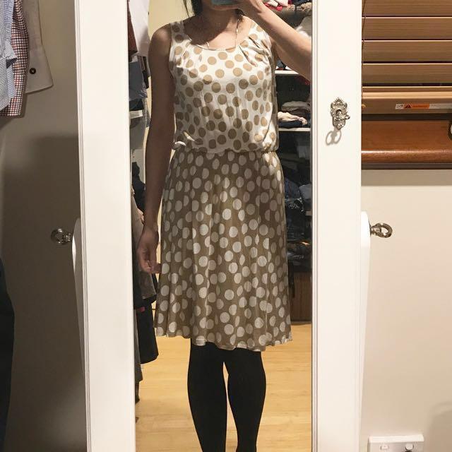 Next UK beige polka dot dress