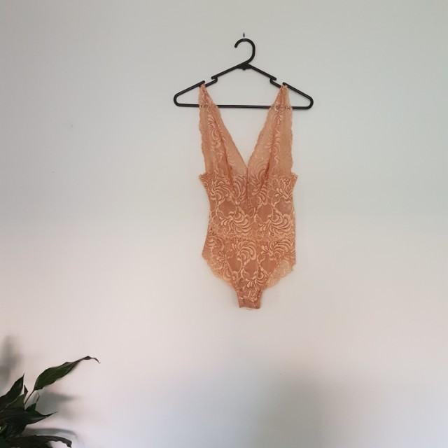 Peach lace bodysuit
