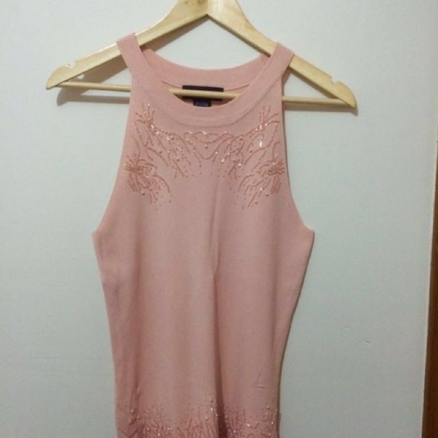 Peach Sleeveless Blouse with beads design, L