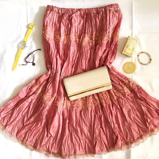 Pink A-Line Midi Skirt