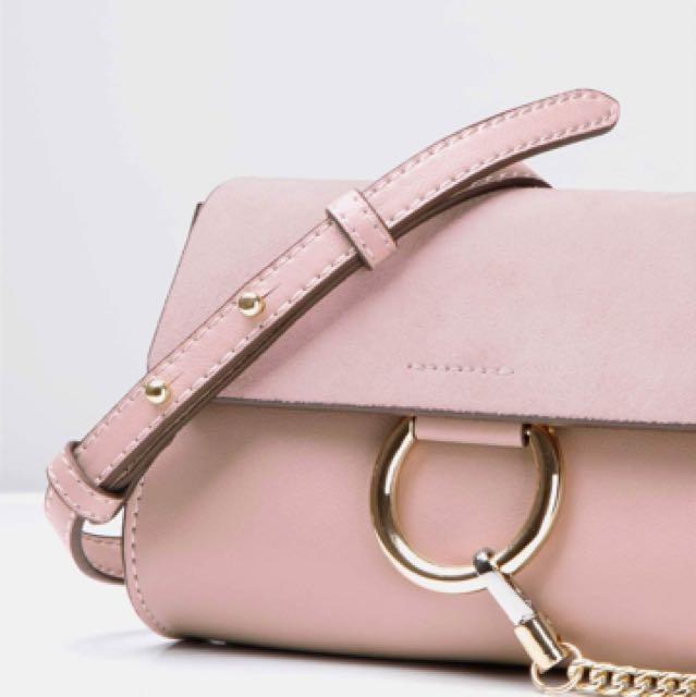 Pink leather bag Chloe Faye inspired