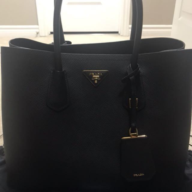 Prada Saffiano Cuir double bag all black