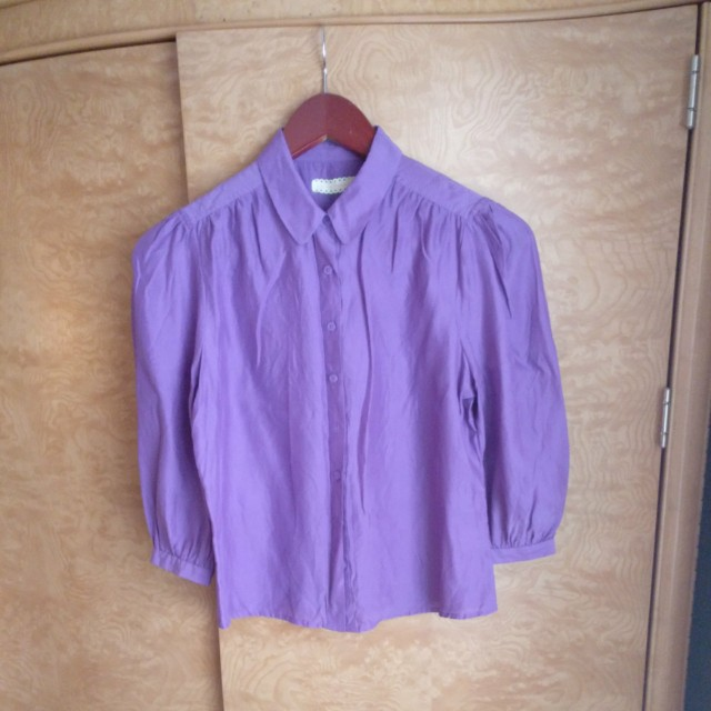 Purple button blouse