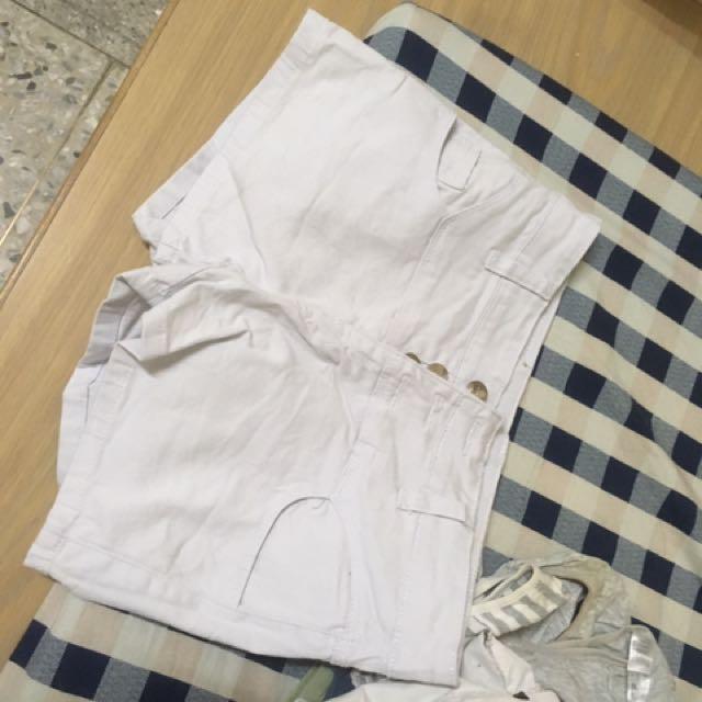 白色熱褲高腰s號