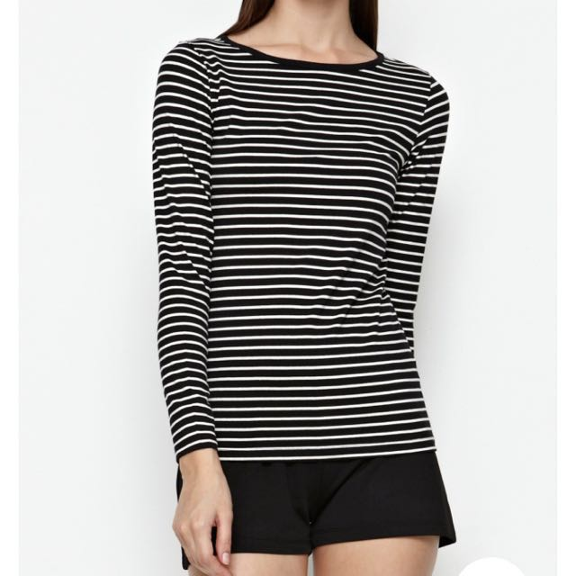 Seed Black And White Striped Long Sleeve Tshirt Top