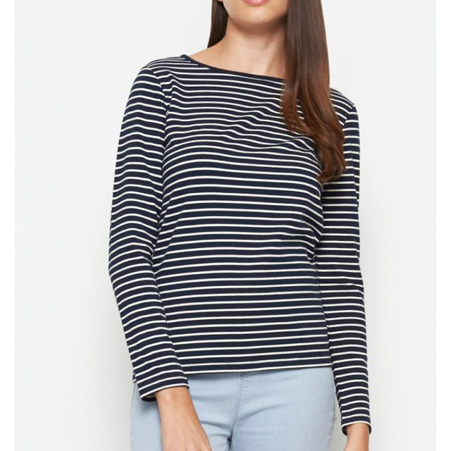 Seed Dark Blue And White Striped Long Sleeve Tshirt Top