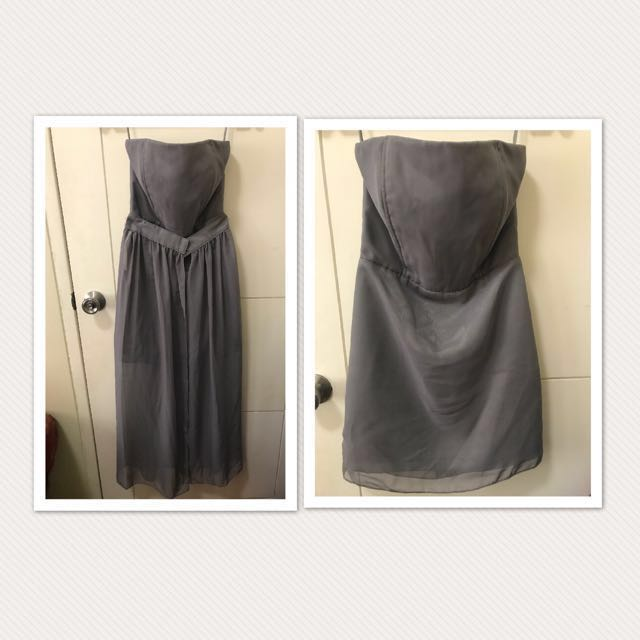 Silver Gown with removable Cover up
