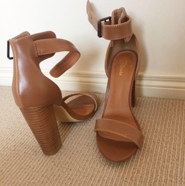 Tan Wooden Heel Shoes