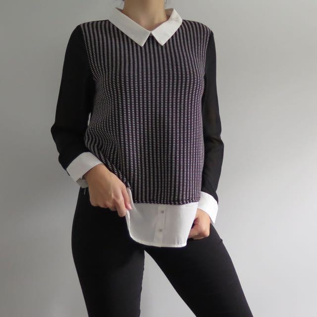 TEMPT faux shirt/sweater combo