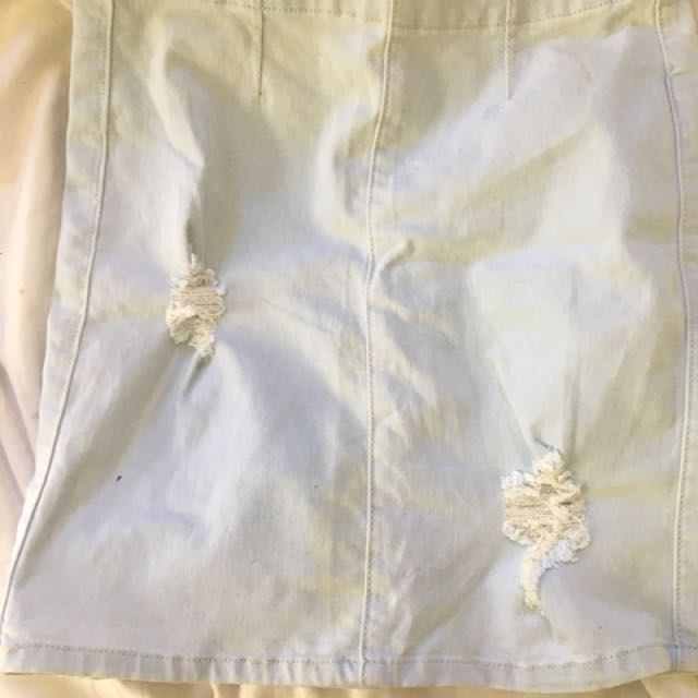 Tight denim skirt