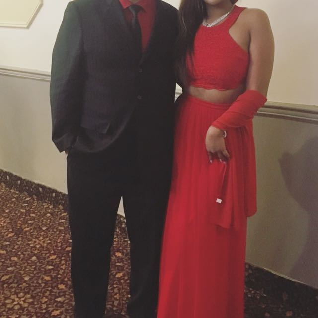 Two-piece red formal gown