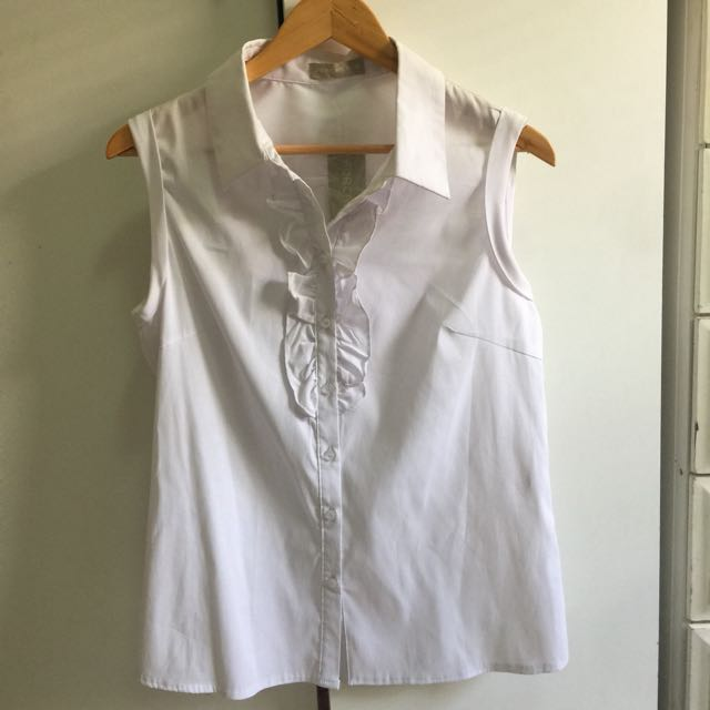 White button up with tag