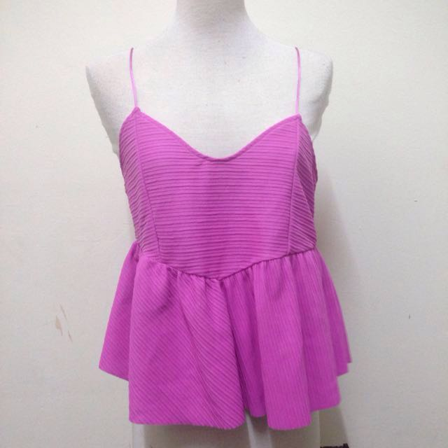 Zara Babydoll Vneck Top In Pink
